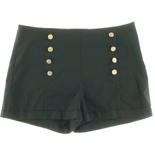 Guess Womens Button front Cuffed High-Waist Shorts