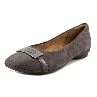 Clarks Candra Glare Women Round Toe Suede Purple Flats