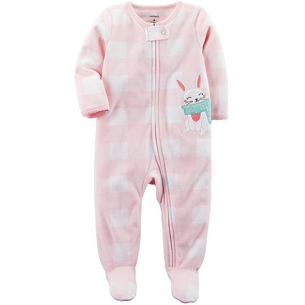 Carters Girls 0-3 Month Bunny Fleece Pajama - Pink
