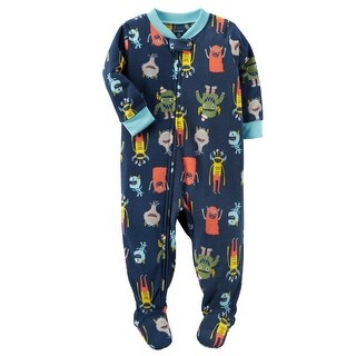 Carter's Big Boys' 1 Piece Monster Fleece Pajamas, 5 Kids - Print