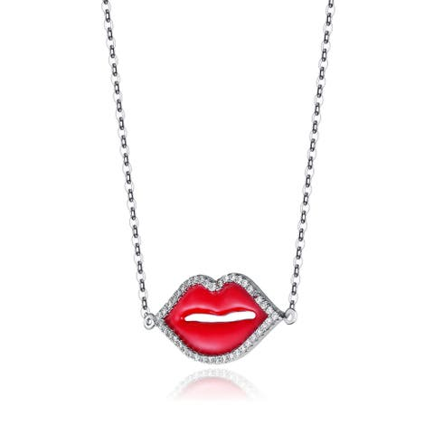 Collette Z Sterling Silver Cubic Zirconia Lip Necklace - White