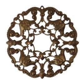 Vintaj Natural Brass Ornate Wreath Filigree Stamping Pendant 48.5mm (1)