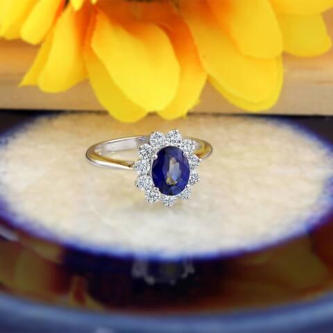 Auriya 18k Gold 1 1/2ct Oval Sapphire Halo Diamond Engagement Ring 5/8ct TDW