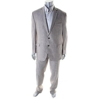 Calvin Klein Mens Linen Pinstripe Two-Button Suit - 40R