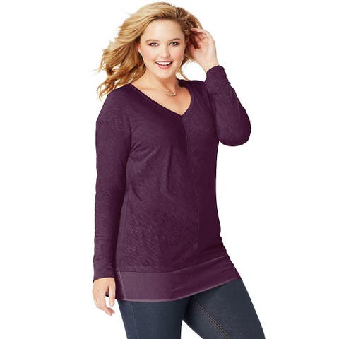 JMS Essentials Lightweight Blocked Tunic - Size - 2X - Color - Plum Port