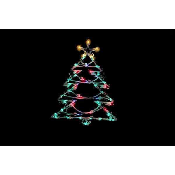 "18"" Lighted Tree Christmas Window Silhouette Decoration"