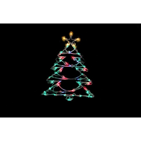 "18"" Lighted Tree Christmas Window Silhouette Decoration - green"