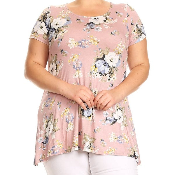 08e98108b2 Women Plus Size Short Sleeve Floral Printed Jersey Tunic Knit Top Tee Blush