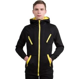 Unique Bargains Men's Layered Kangaroo Pockets Long Sleeves Fleece Hoodie