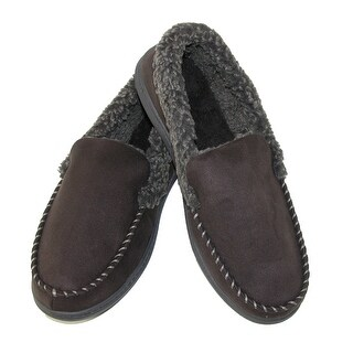 Dearfoams Men's Microsuede Moccasin Slippers with Memory Foam