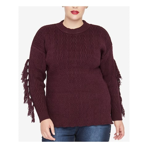 RACHEL ROY Womens Burgundy Tassel Trim Long Sleeve Sweater Size 1X