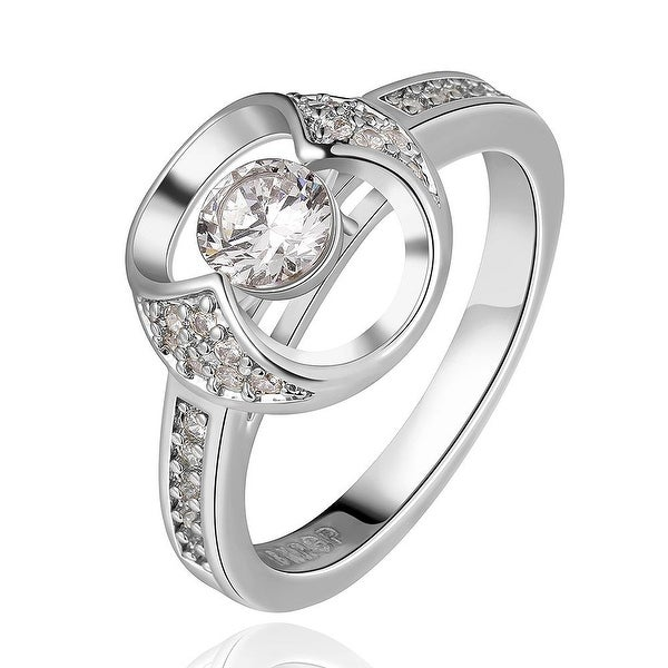 White Gold Plated Abstract Circular Jewel Ring
