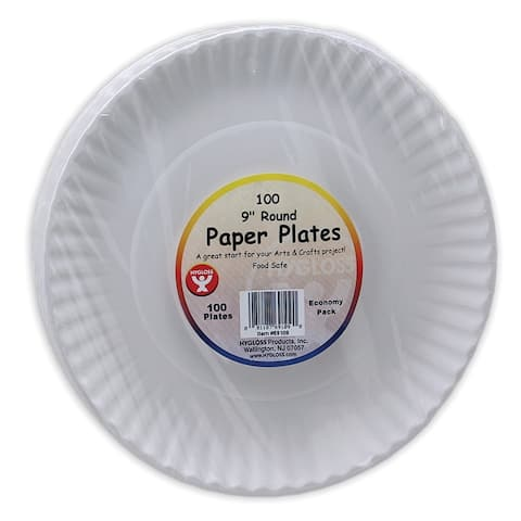 White Paper Plates, 9-Inch, 100 Per Pack, 6 Packs