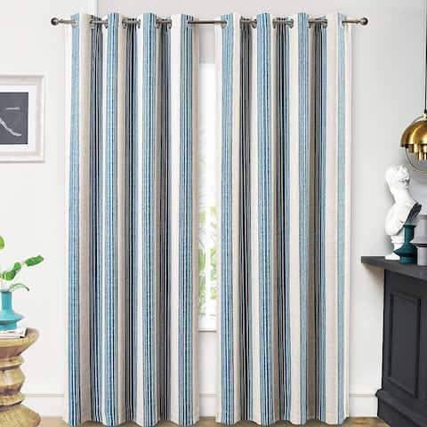 """DriftAway Chris Vertical Striped Pattern Linen Textured Lined Blackout Window Curtains - 52"""" Width X 84 """" Length"""