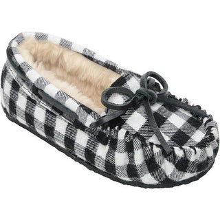 Minnetonka Girls' Cassie Slipper Black Plaid Flannel