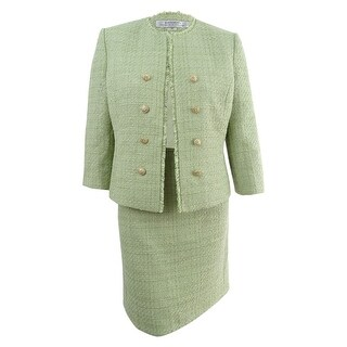 Tahari ASL Women's Petite Tweed Button-Embellished Skirt Suit (16P, Grove Green) - Grove Green - 16P