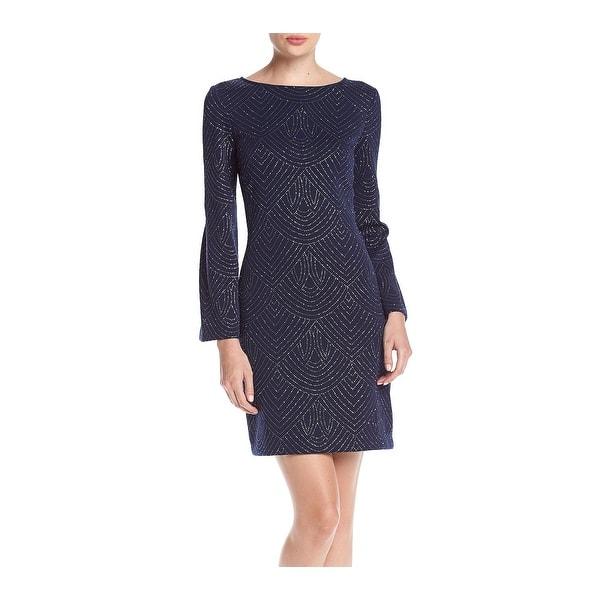 7d0cf8a1a0 Shop Jessica Howard Blue Womens Size 10 Bell-Sleeve Glitter Shift ...