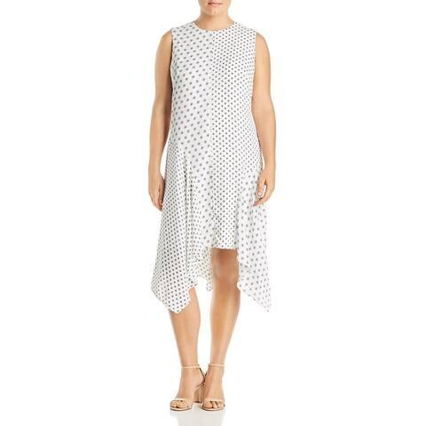 Vince Camuto Womens Plus Shift Dress Sleeveless Geo Print - Pearl Ivory
