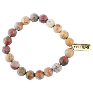 Cecelia Designs Jewelry Women's 10mm Gemstone Beads Bracelet - Believe Charm
