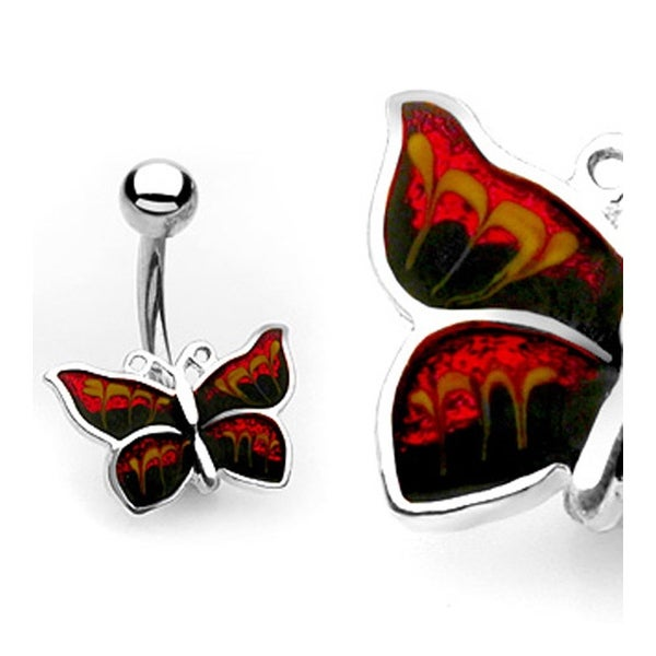 """Navel Belly Button Ring Black, Orange, and Yellow Butterfly with Banana - 14GA 3/8"""" Long"""