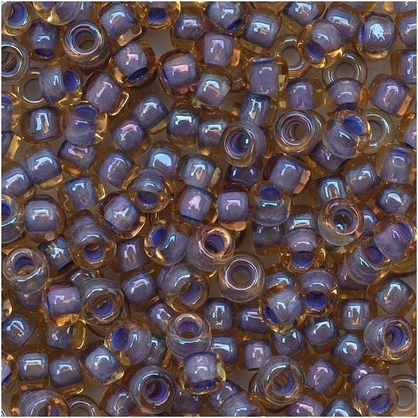Toho Round Seed Beads 8/0 926 'Lt Topaz/Opaque Lavender Lined' 8 Gram Tube