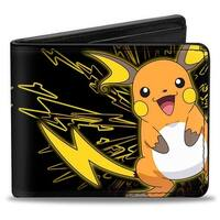 Electric Raichu + Electric Pikachu Black Yellow Bi Fold Wallet - One Size Fits most