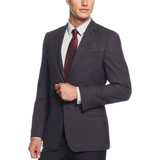 DKNY Grey and Wine Check Wool Two Button Sportcoat Blazer 44 Long 44L