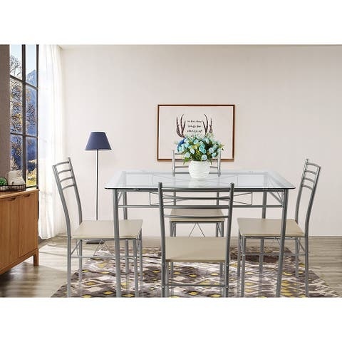 Glass Dining Table with 4 Chairs - Silver5-piece Glass Dining Table Set