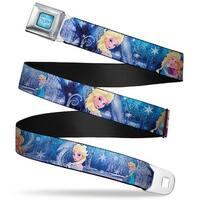 Frozen Logo Full Color Blues Frozen Elsa The Snow Queen Poses Snowflakes Seatbelt Belt