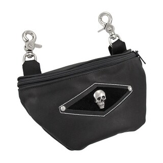 Black Leather Skull Belt Loop Purse Ride Bag Biker