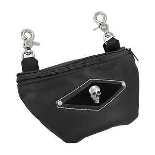 Black Leather Skull Belt Loop Purse Ride Bag Biker