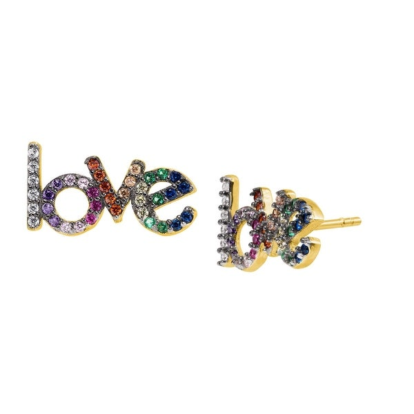 'Love' Rainbow Cubic Zirconia Earrings in Gold-Plated Sterling Silver - Multi-Color