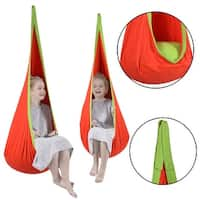 Costway Child Pod Swing Chair Tent Nook Indoor Outdoor Hanging Seat Hammock Kids - Orange