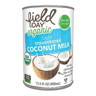 Field Day Organic Light Unsweetened Coconut Milk - Coconut Milk - Case of 12 - 13.5 FL oz.