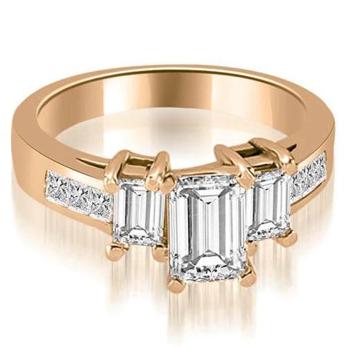 1.75 cttw. 14K Rose Gold Channel Princess and EmeraldDiamond Engagement Ring