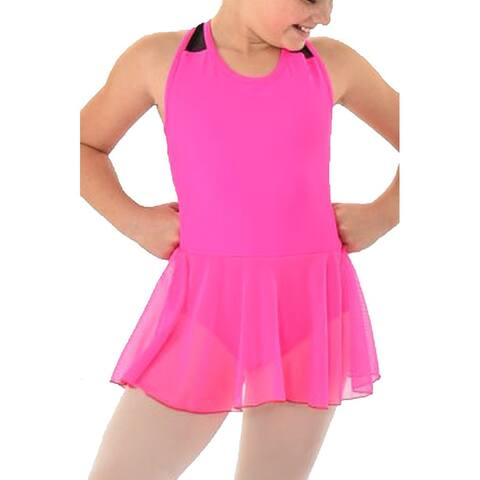 Women's Raspberry Black Mesh Tank Drop Waist TRINITY Dancewear Dress S-L