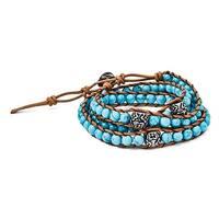 Chisel Stainless Steel Cord Imitation Turquoise/3 Polished Flowers Wrap Bracelet