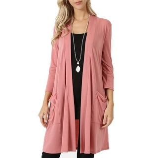 NE PEOPLE Womens Basic 3/4 Sleeve Open Front Cardigan S-3XL [NEWJ1439]