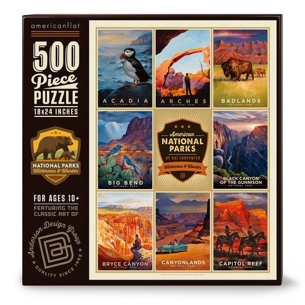 Shop Black Friday Deals On Americanflat 500 Piece Jigsaw Puzzle 18x24 Inches American National Parks 1 Art By Anderson Design Group 18 X 24 Overstock 32348512
