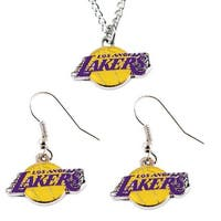 LOS Angeles Lakers Necklace and Dangle Earring Charm Set NBA