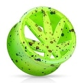 Pot Leaf Green Splatter Double Flared Acrylic Saddle Fit Plug (Sold Individually) - Thumbnail 0