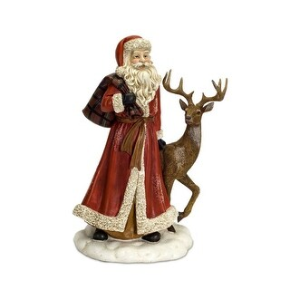 17 Subtle Colored Frosted Finish Santa with Deer Christmas Decoration