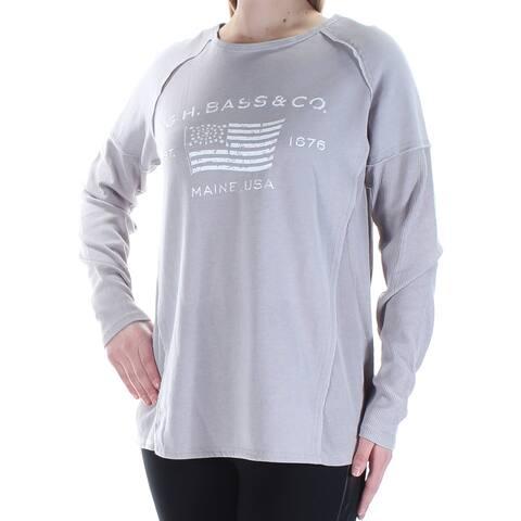 BASS Womens Gray Logo Long Sleeve Jewel Neck Top Size: M