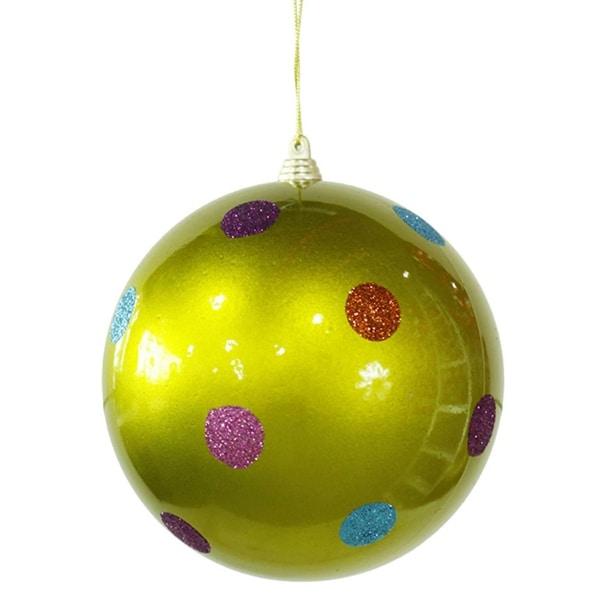 "Candy Fantasy Green Polka Dot Shatterproof Christmas Ball Ornament 5.5"" (140mm)"