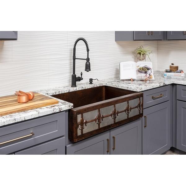 Premier Copper Products KASDB33229F-NB 33-inch Copper Apron Front Single Basin Kitchen Sink w/ Fleur De Lis Dsgn Nickel Bkgrnd. Opens flyout.