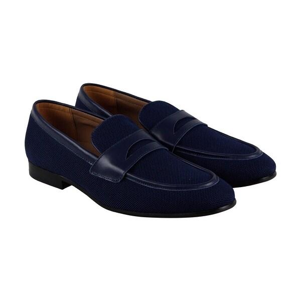 Steve Madden Enmeshed Mens Blue Nylon Casual Dress Slip On Loafers Shoes