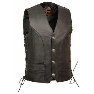 Mens Premium Leather Side Lace Buffalo Snap Vest