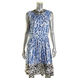 Ellen Tracy Womens Printed Pleated Casual Dress - 10