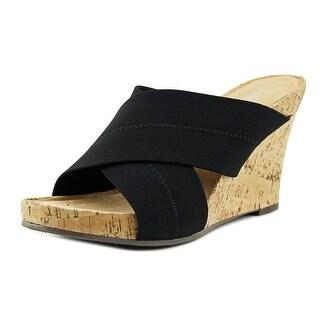 Aerosoles Party Plush Women Open Toe Canvas Black Wedge Sandal