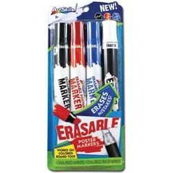 Black; Red & Blue - Erasable Dual-Ended Markers 4/Pkg
